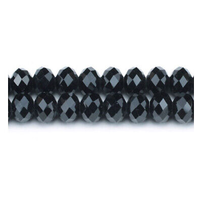 Strand 70+  Black Czech Crystal Glass 6 x 8mm Faceted Rondelle Beads GC3523-3