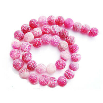 Strand Of 62+ Fuchsia Frosted Cracked Agate 6mm Plain Round Beads GS0273-1