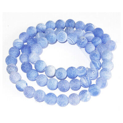 Strand Of 38+ Blue Frosted Cracked Agate 10mm Plain Round Beads GS0274-3