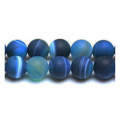 Strand Of 38+ Blue Frosted Banded Agate 10mm Plain Round Beads GS17102-2