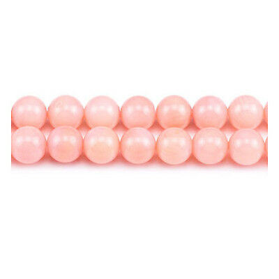 Strand Of 60+ Dull Pink Coral 6mm Plain Round Beads GS1864-2
