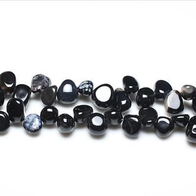 Strand Of 42+ Black Onyx 10-14mm Drop-Style Chip Beads GS3104