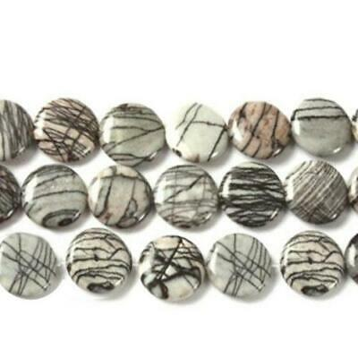 Strand Of 38+ Grey/Black Veined Jasper 10mm Puffy Coin Beads GS4973-1