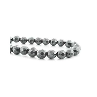 Strand Of 45+ Grey Hematite (Non Magnetic) 8mm Faceted Round Beads GS9614-5