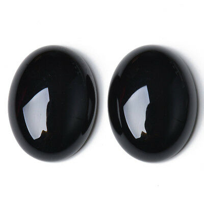 Pack of 2 x Black Onyx 13 x 18mm Oval-Shaped Flat-Backed Cabochon CA17395-5