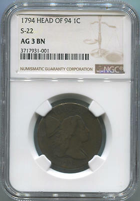 1794 Liberty Cap Large Cent. Head of 94. S-22. NGC AG3 Brown