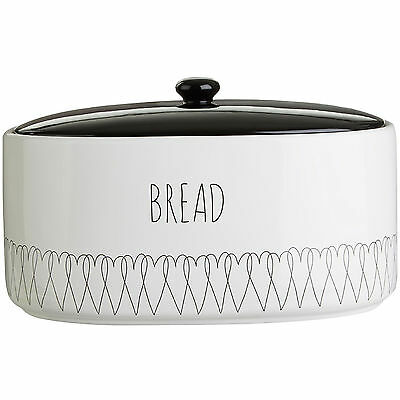 White Heartlines Bread Canister Ceramic Container Kitchen Storage Loaf Holder