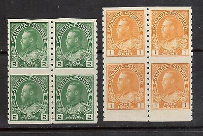 Canada #126a & #128a VF/NH Imperf Block Duo