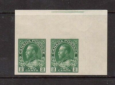 Canada #137 XF Mint Imperf Pair Variety With Guideline At Top