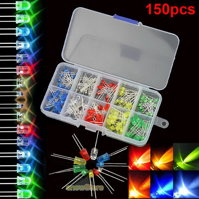 150pcs 3mm 5mm LED Light White Blue Red Green Yellow Assorted Emitting Diode DIY