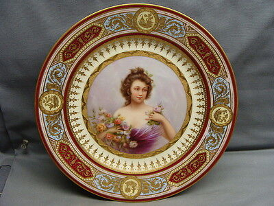 Antique Royal Vienna Cabinet Plate Beautiful Maiden With Roses Artist Signed