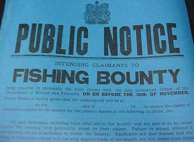 Public Notice Fishing Bounty Broadside Poster 1923 Maritime Canada Nova Scotia