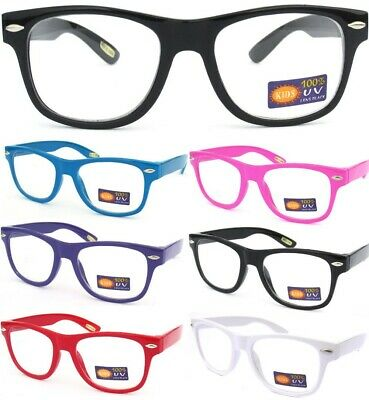 SMALL KID CHILD SIZE CLEAR LENS GLASSES COLOR FRAME Nerd Hipster Boys Girls New