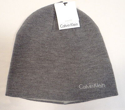 Calvin Klein Reversible Gray Knit  Beanie Skull Cap Adult One Size NWT