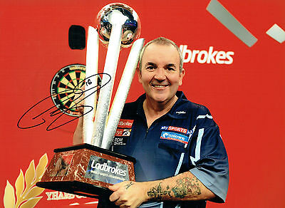 Phil The Power TAYLOR Signed Autograph Darts Champ 16x12 New Photo 6 AFTAL COA