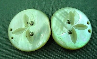 Lovely Round Antique Carved MOP Mother of Pearl Belt Buckle Estate Jewelry