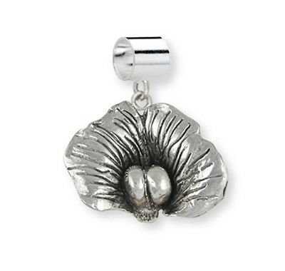Solid Sterling Silver Sweet Pea Flower Slide Charm Jewelry SWP3-PND