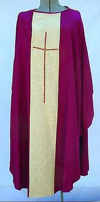 Estate Anglican Priest Bell-shape Purple Chasuble Vestment Three Crowns & Cross