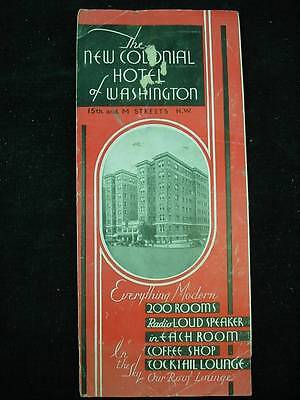 New Colonial Hotel Of Washington DC 1930's Brochure Advertising With Map