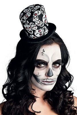 Ladies Mini Skull Top Hat Fascinator Halloween Fancy Dress Costume Hat New