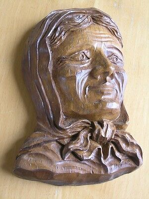 Vintage Decorative Hand Crafted Wall Plaque Elderly Woman Sic France