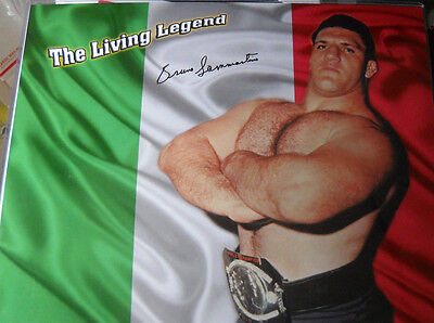 Bruno Sammartino Signed Autograph Photo 16X20 Coa Wwf Italian Flag Colors Legend