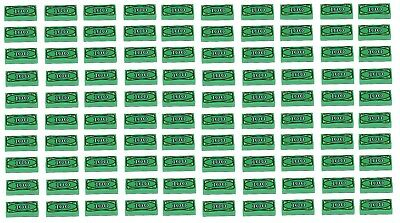 NEW Lego Lot of 100x Green Tiles 1 x 2 with $ 100 Dollar Bill Money Pattern Cash