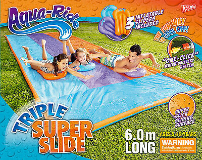 NEW Aqua Ride Triple Super Fun Water Slide 6m Long Includes 3 Inflatable Sliders