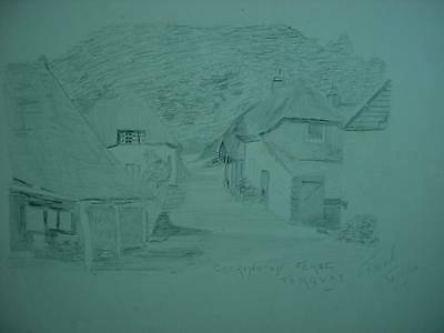 Cockington Forge Torquay Street Scene Signed Freak Pencil Drawing Dated 1910