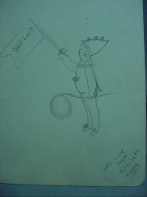 Lovely Antique Pencil Folk Art Drawing Clown With Good Luck Flag  Signed