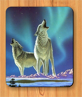 WOLF COUPLE NORTHERN AURORA BOREALIS MOUSE PAD -lkl0Z