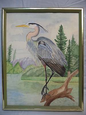Watercolor Painting Great Blue Heron On Stump Overlooking Lake Signed Marshal