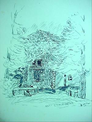 Stunning Antique Pen & Ink Drawing 1911 Old Clack Mill