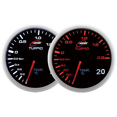 60mm Smoked Turbo Boost / Oil Water Temp Gauge AMBER&WHITE LED 2 in 1