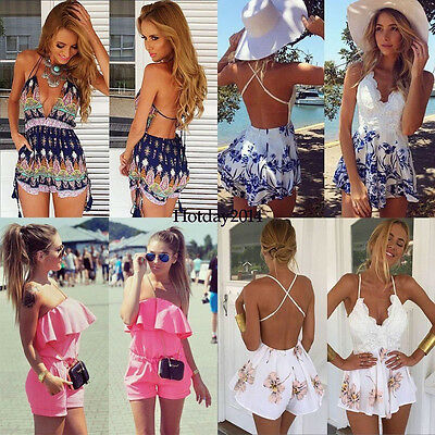 Women Ladies Clubwear V Neck Playsuit Bodycon Party Jumpsuit Romper Trousers HY