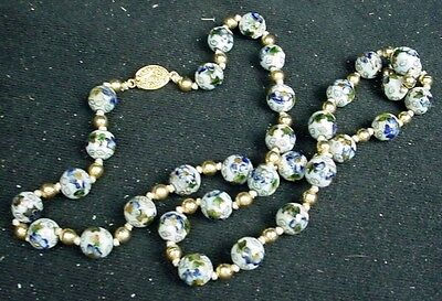 ANTIQUE CHINESE EXPORT Jewelry CLOISONNE BEAD NECKLACE Hand Knotted Brass Spacer