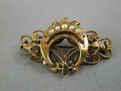 Amazing Antique Rolled Gold Brooch Pin Art Nouveau Multi Layer & Seed Pearls