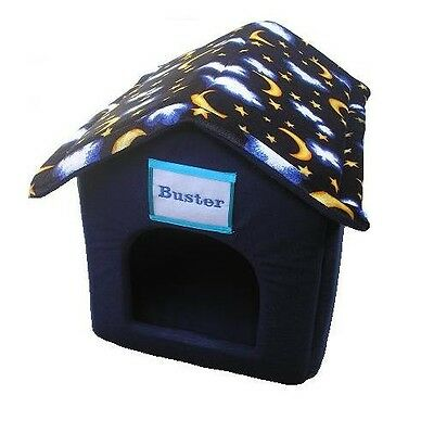 Personalised Ancol Moon & Stars Blue Small Dog/Puppy,Cat,Rabbit House Bed