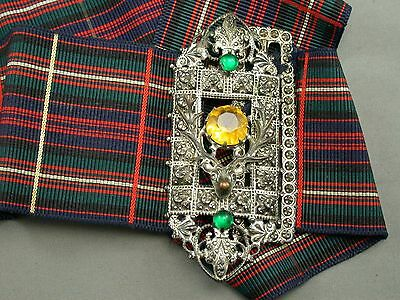 Old Scottish Celtic Kilt Argyle Belt With Stag Head Buckle Green Yellow Stones