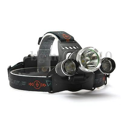 Elfeland 10000Lm 3x LED Rechargeable Lampe Frontale Headlight Light Lamp 18650