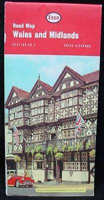 1969 ESSO Gas Oil Road Map Wales & Midlands