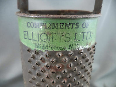 Antique Round Punched Tin Advertising Food Grater Elliotts Middleton Nova Scotia