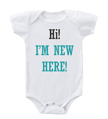 Hi! I'M New Here! Cotton Baby Bodysuit One Piece