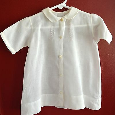 Vintage White Fine Cotton Christening Gown Dress Featherstitch Embroidery Infant
