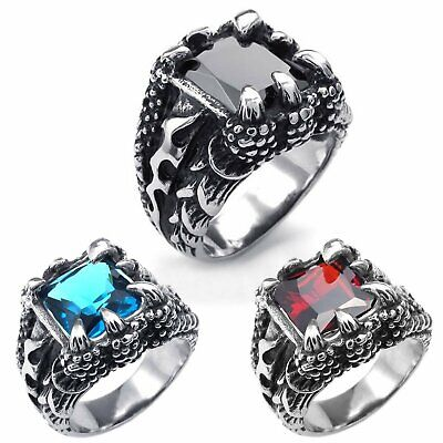 MENDINO Men's Stainless Steel Ring Dragon Claw Blue/Red/Black Zircon Punk Gothic