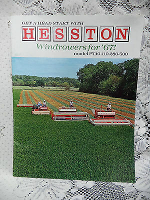 HESSTON WINDROWERS FOR '67 Model PT-10-110-280-500 Farm Machinery Catalog Cutter