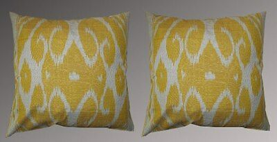 2 Uzbek Silk Ikat Fabric Pillow Cases Orient 8737-8738