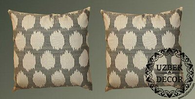 2 Uzbek Silk Ikat Fabric Pillow Cases Orient 7832- 7888