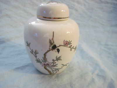 Vintage LEFTON CHINA #8051 Hand Painted Bird Blossom Bamboo Ginger Jar (B)