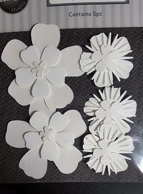 5 Glitter Adhesive White Paper Flowers great for Card Making & Scrapbooking NEW
